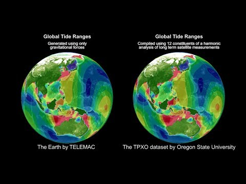 The Earth by TELEMAC Simulation of Global Tidal Ranges