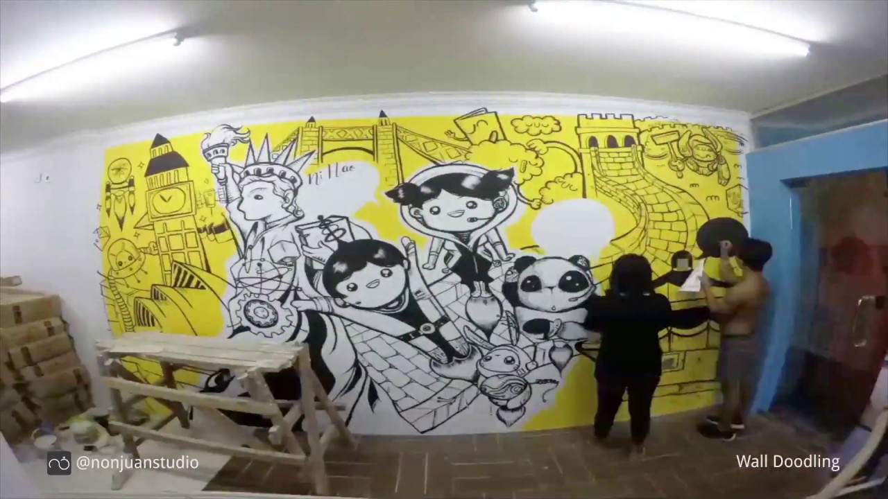 Time Lapsed Wall Doodling in Bali - YouTube