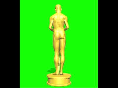 3d spinning oscar statue green screen