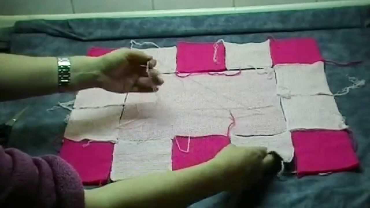 Babydecke in Patchwork selber stricken - YouTube