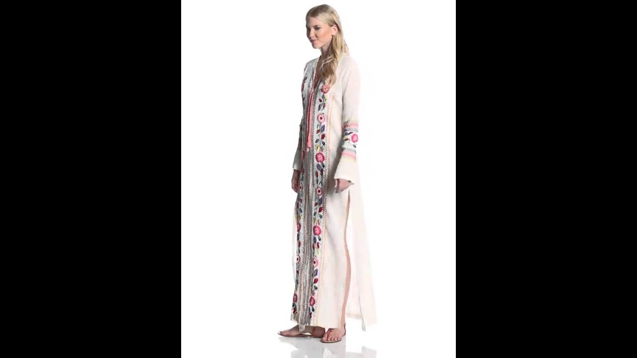 Candela Women's Coco Long Sleeve Maxi Embroidered Tunic Dress, Off ...