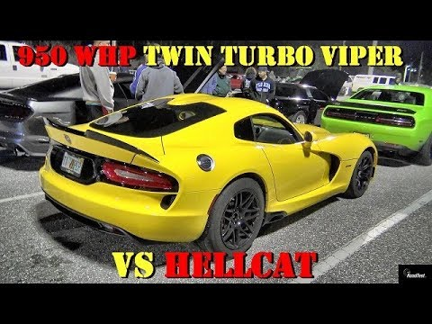 950 whp twin turbo viper vs modded hellcat 1 4 mile drag. Black Bedroom Furniture Sets. Home Design Ideas