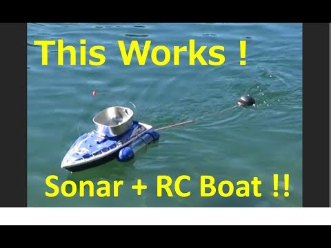 This works !  Fish Finder (Deeper Sonar) + RC Boat!   Fishing gadget experiment.