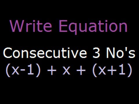 sum of consecutive numbers problem using equation