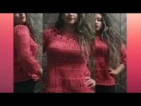 BLUSA DE CROCHÊ DE GRAMPO ESTILO BATA BY ARLÉIA - YouTube 59fcfebc86a