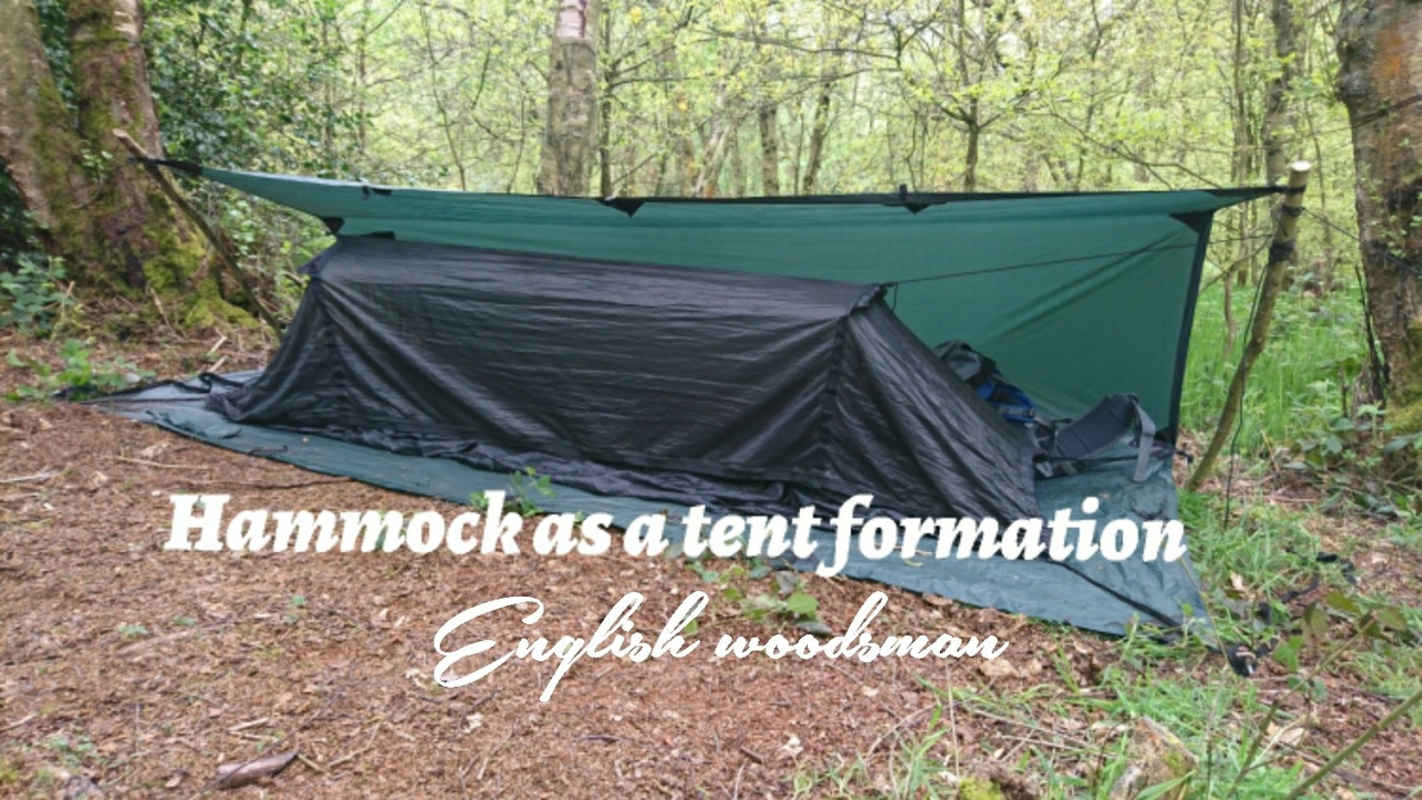 DD hammock setup as a tent formations with DD 3x3 trap as a ground sheet and rain cover & DD hammock setup as a tent formations with DD 3x3 trap as a ground ...