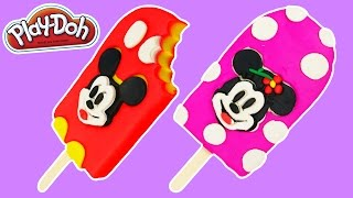 Play Doh Mickey Mouse & Minnie Mouse Popsicles Fun & Easy How to Make Disney Play Doh Ice Cream!