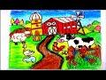 رسم مزرعة رسم سهل للاطفال رسم جموسه خروف ارنب وزه خطوه بخطوه oil pastel