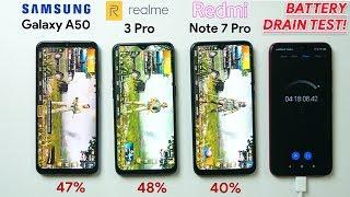 Realme 3 Pro vs Redmi Note 7 Pro vs Galaxy A50 - Battery Drain test!