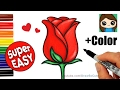 How to Draw + Color a Rose Super EASY Realistic