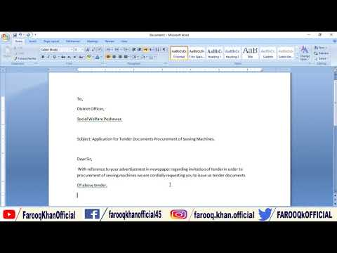 How to Write Application for Tender Documents?