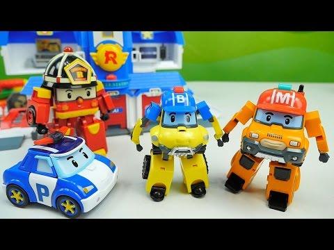 Робокар Поли Машинки - Новые серии - База Команды Спасателей с машинками Марком и Баки