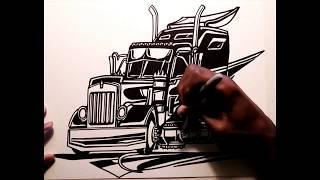 DRAWING TRUCKS!!! Kenworth W900 Custom II