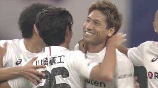 左サイドからの折り返しを収めた田中 順也(神戸)が左足でゴールを撃ち...