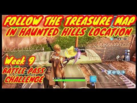 Follow The Treasure Map In Haunted Hills Location-Week 9 Battle Pass Challenge- Fortnite BR