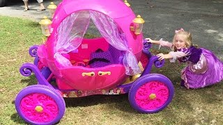 Disney Princess Carriage  Ride On Toy Power Wheels Car at The Pirate Ship Playground Park for Kids