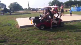 jumping over a golf cart fail