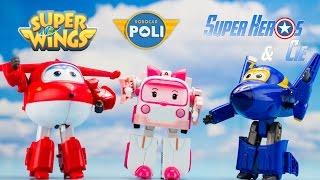 Super Wings Robocar Poli Robots Transformables Jouets Review 출동슈퍼윙스 신제품 장난감 - 비행기 Робокар Поли