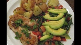 Fish Fillet W/ Boiled Potato & Beans N Avocado Salad - Healthy Recipe