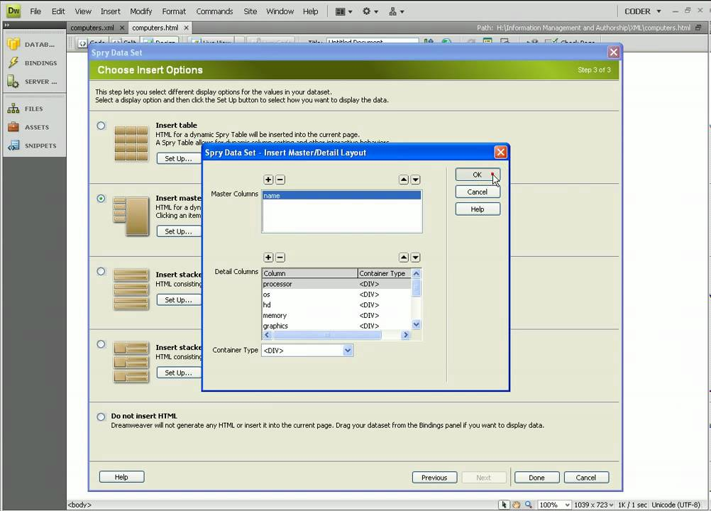 dreamweaver cs4 spry data set with xml youtube