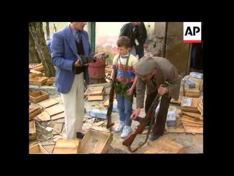 ALBANIA: GJIROKASTRA: FUNERAL IS HELD FOR STRAY BULLET VICTIM