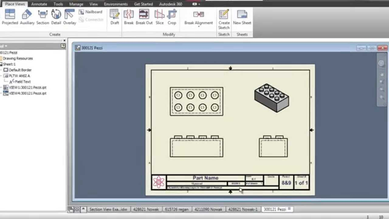 inventor drawing  orthographic projection