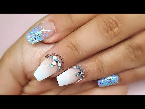 Baby Blue Acrylic Nails Baby Shower Nails Acrylic Nail Tutorial