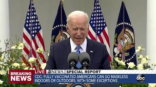 President Biden speaks about new mask guidance from CDC | ABC7