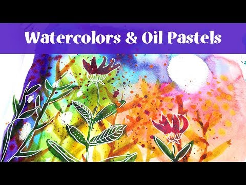 Watercolor Art Journal Page Tutorial With Oil Pastels