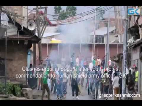 Clashes erupt in Sopore after youth protest commendation to human shield army officer