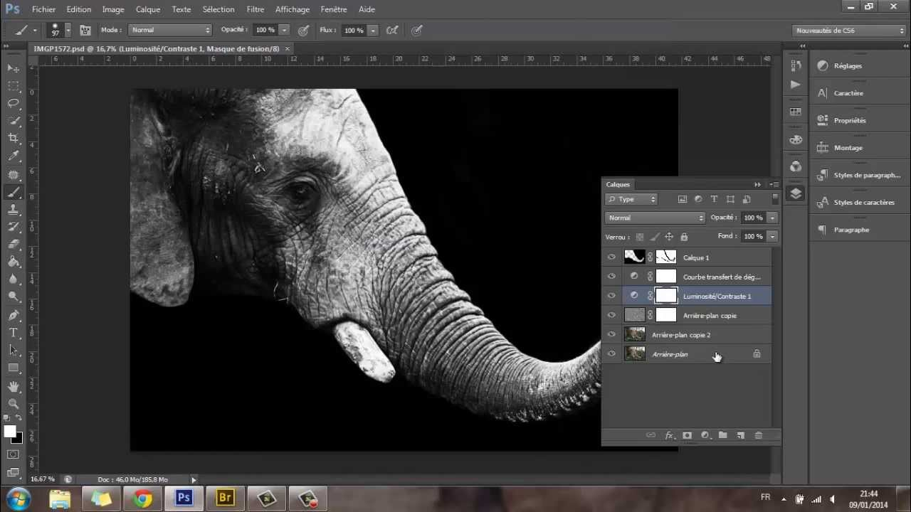 retouche acc l r e d 39 un l phant sur fond noir sur photoshop cs6 par ark us youtube. Black Bedroom Furniture Sets. Home Design Ideas
