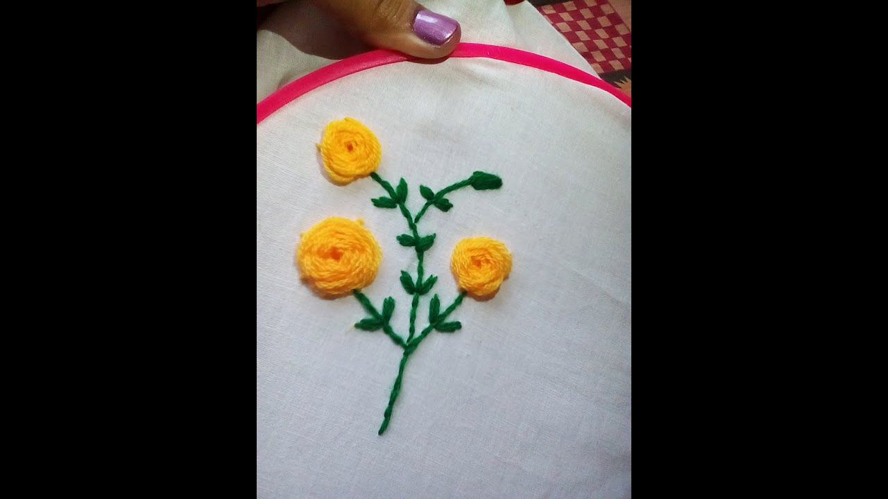 How to embroider a rose flower youtube