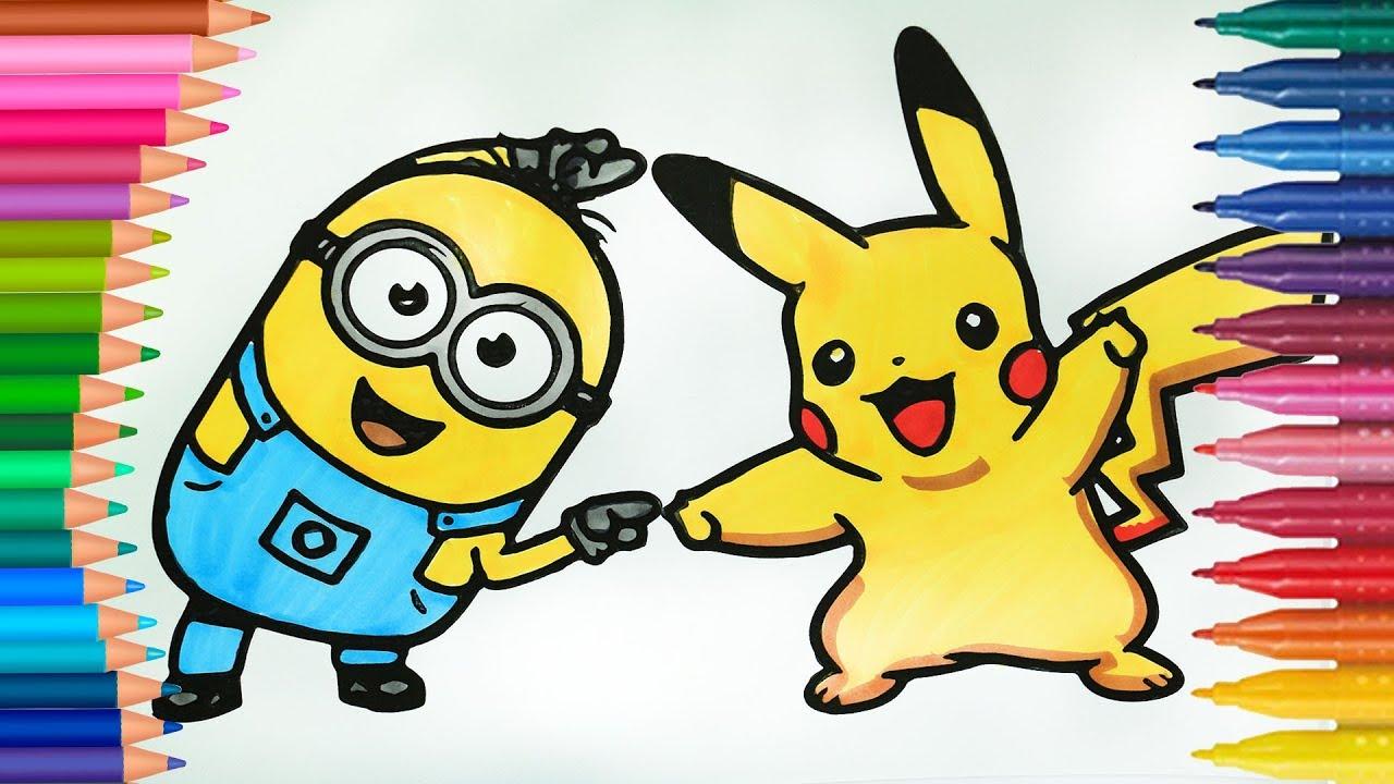 Cilgin Hirsiz Minyon Bob Ve Pikachu Boyamalar Boyama Kitabi