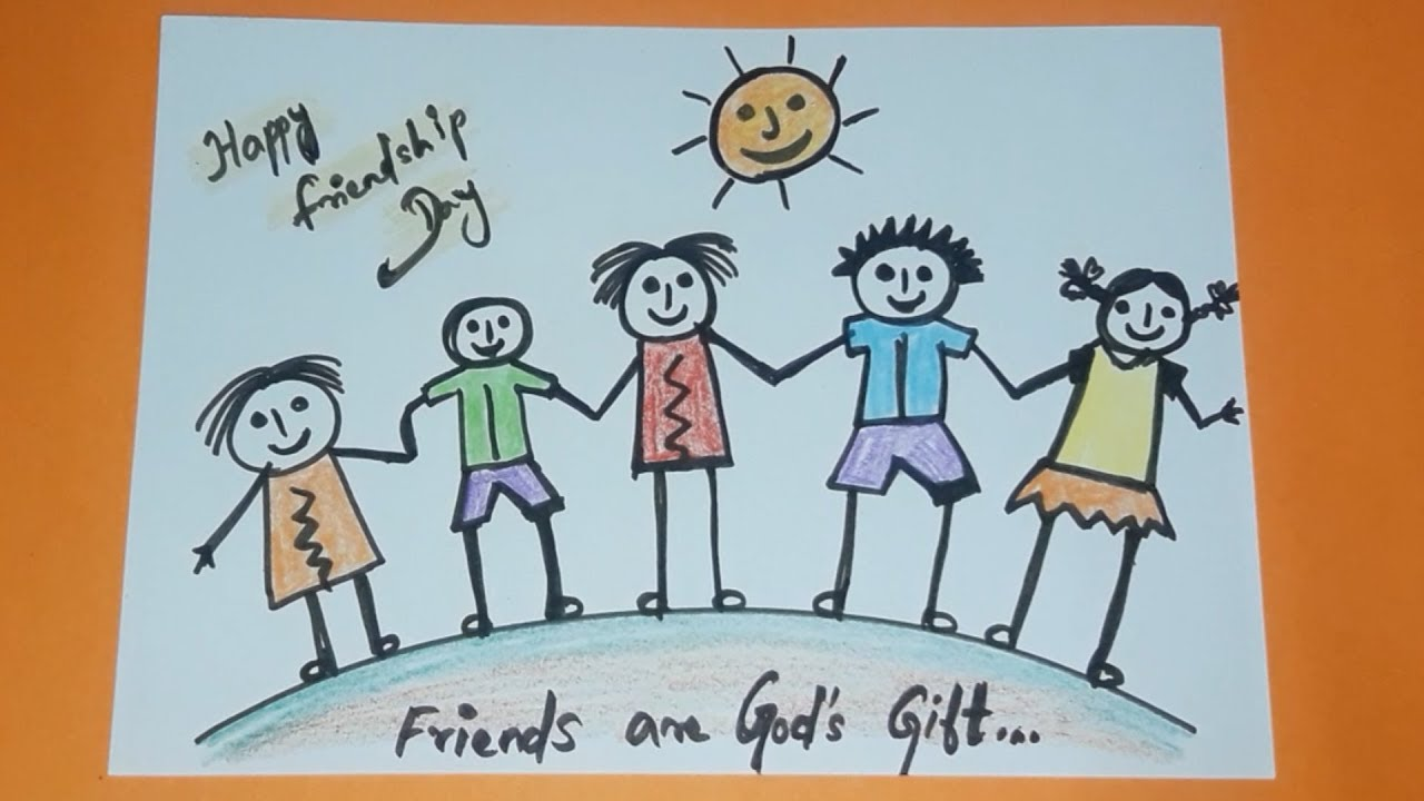 Happy Friendship Day Friendship Day Drawing Drawing For Kids Drawing For Kids Youtube