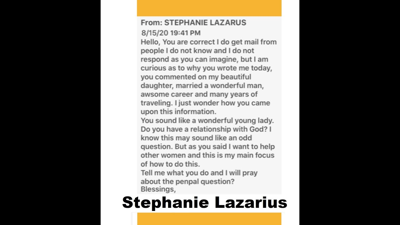 Stephanie Lazarus Email by permission from Melissa w/Susan Bahns
