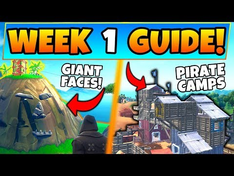 Fortnite WEEK 1 CHALLENGES GUIDE! - Pirate Camps, Giant Face Locations (Battle Royale Season 8)