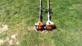 Stihl 56 vs Husqvarna 128 String Trimmers(Husqvarna vs. stihl....The stihl is just made better and more powerful....The husqvarna is GREAT using a pole saw and hedge trimmer attachments though!, 2015-04-15T12:16:12.000Z)