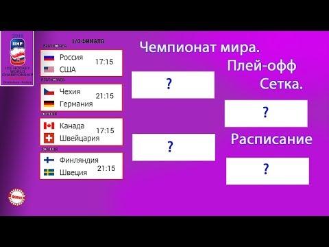 Чемпионат мира по хоккею 2019. Расклады. Расписание плей-офф. Сетка. ¼ финала.