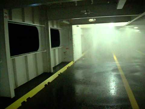 Deluge test on a roro ship at work ..