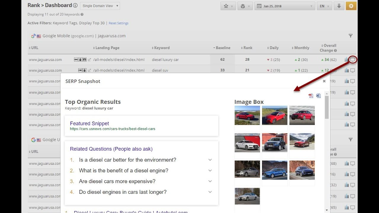 where to find a ranking dashboard for keywords