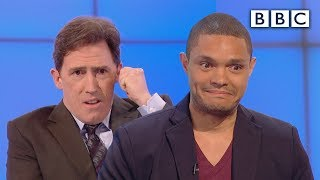Did Trevor Noah prank call as Nelson Mandela? - Would I Lie to You?: Series 9 Episode 6 - BBC One(Programme website: http://bbc.in/1Jocztb Comedian Trevor Noah faces scepticism from David Mitchell, Sean Lock and Richard Hammond when he claims he ..., 2015-08-28T20:30:00.000Z)