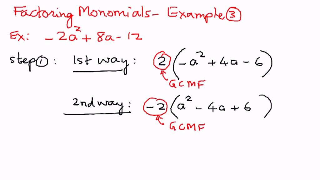 Factoring Monomials Ex&le 3 - YouTube