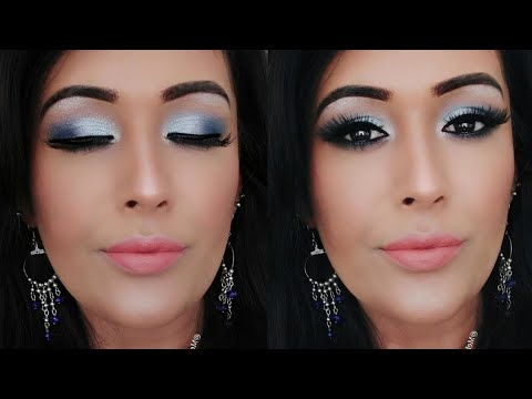 How To: Easy Blue Smokey Eye Tutorial And Makeup Review | GRWM thumbnail