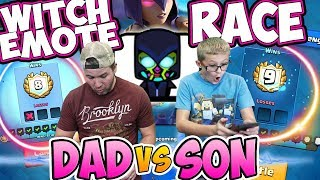 MY SON MAKES me RACE to GET THE WITCH EMOTE! Dad Vs Son
