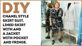 DIY: Chanel style skirt suit. Lined skirt with and a jacket with pockets and fringe.