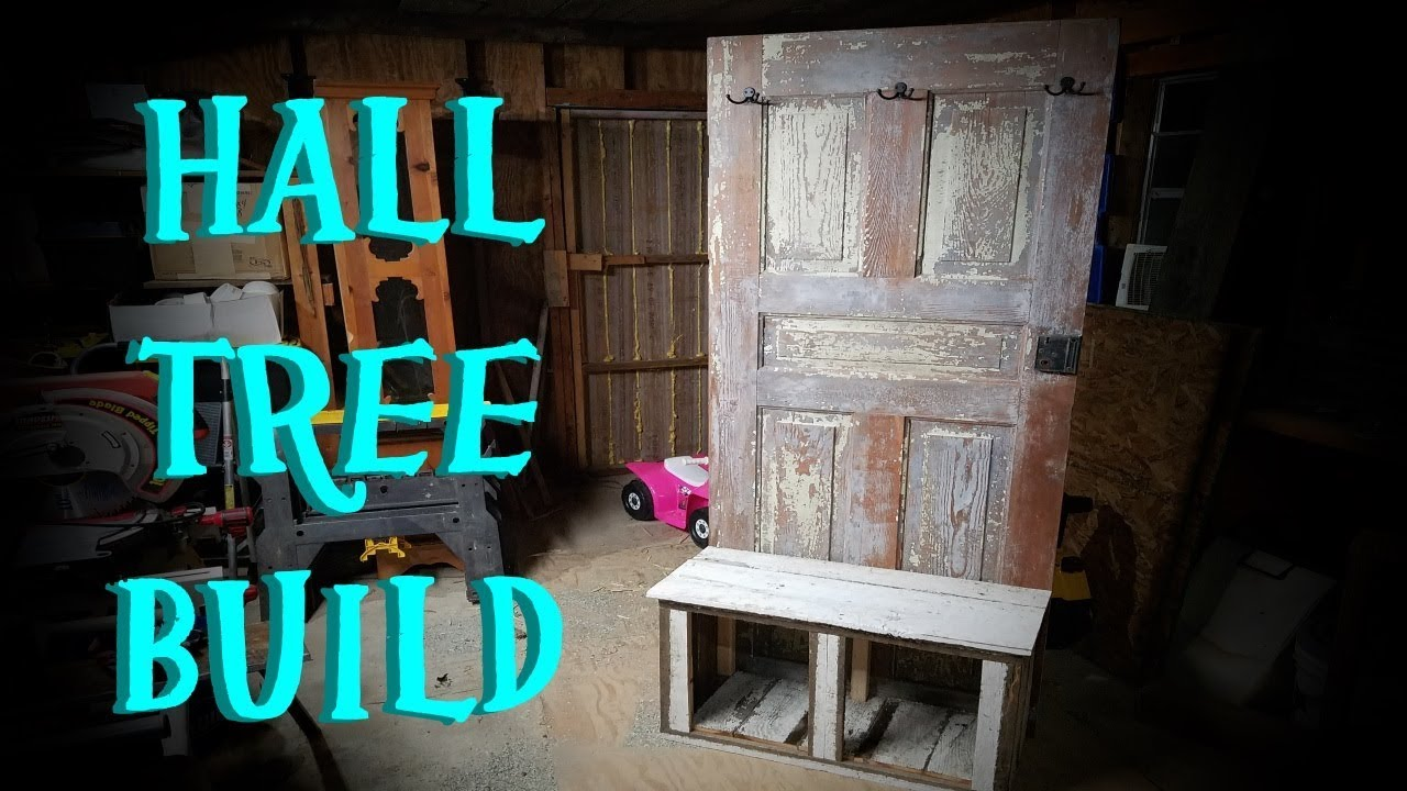 DIY HALL TREE FROM OLD DOOR AND RECLAIMED LUMBER!!!
