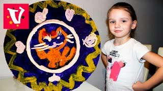папье маше тарелочка  делаем тарелочку из бумаги и рисуем на ней котика