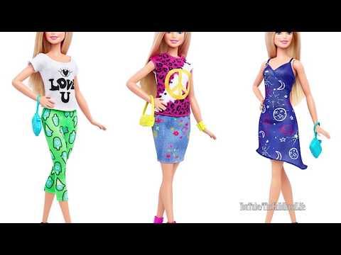 9 Barbie fashionistas Dolls & Barbie Fashion Wardrobe Unboxing Review Dress up Barbie Dolls