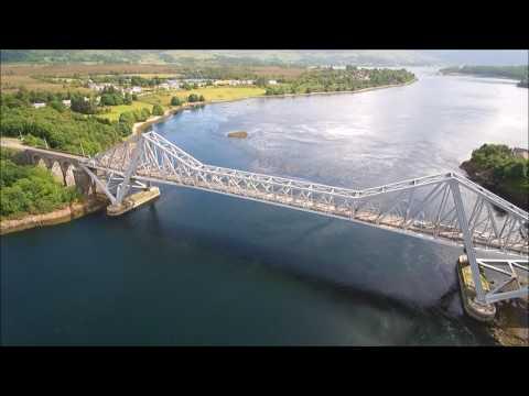Connel Bridge near Lora Falls in Oban, Scotland - Skydronauts.uk