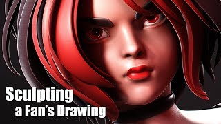 TURNING A FAN'S DRAWING INTO A 3D SCULPT!
